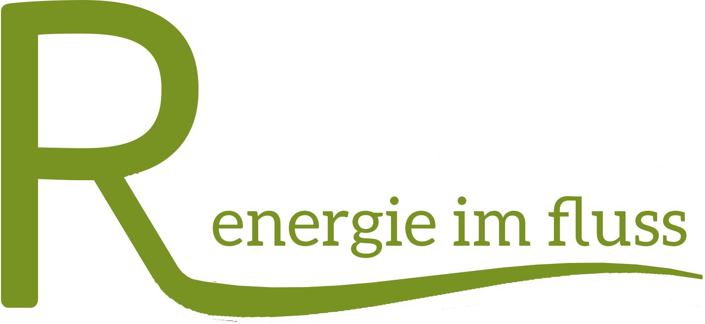 Das Bild zeigt das Logo Rachl, Energie im Fluss.